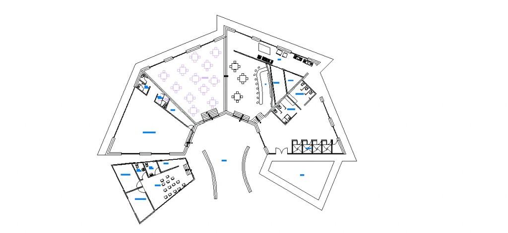 Kulüp binası tefrişli plan