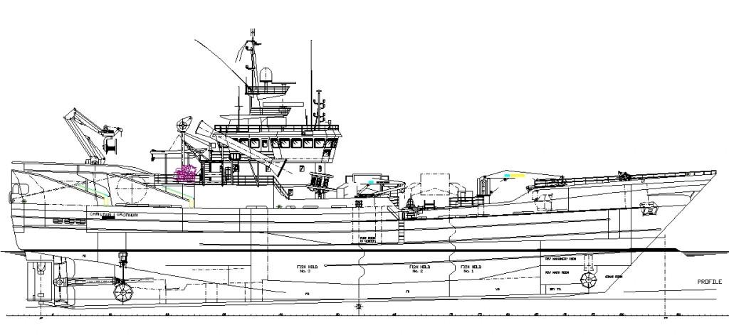 Balıkçı gemisi yan görünüş çizimi