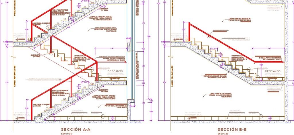 Betonarme merdiven kesit ve nokta detayları