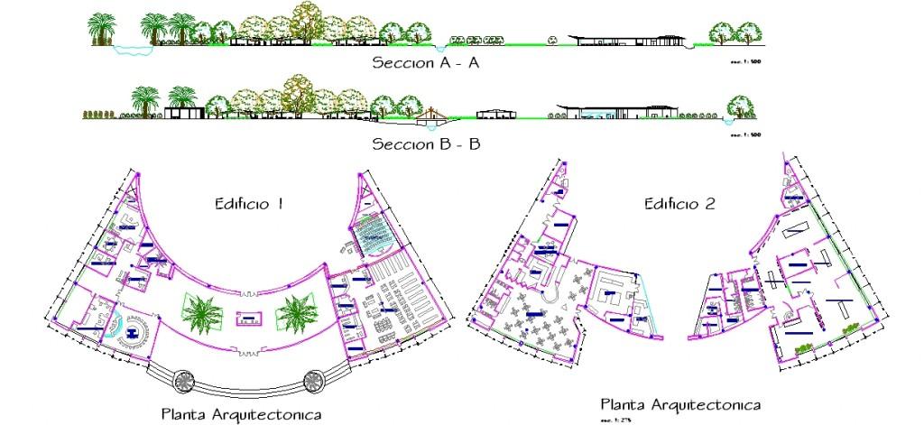 Botanik park sosyal tesis binası planları ve arazi kesitleri yakından görünüş