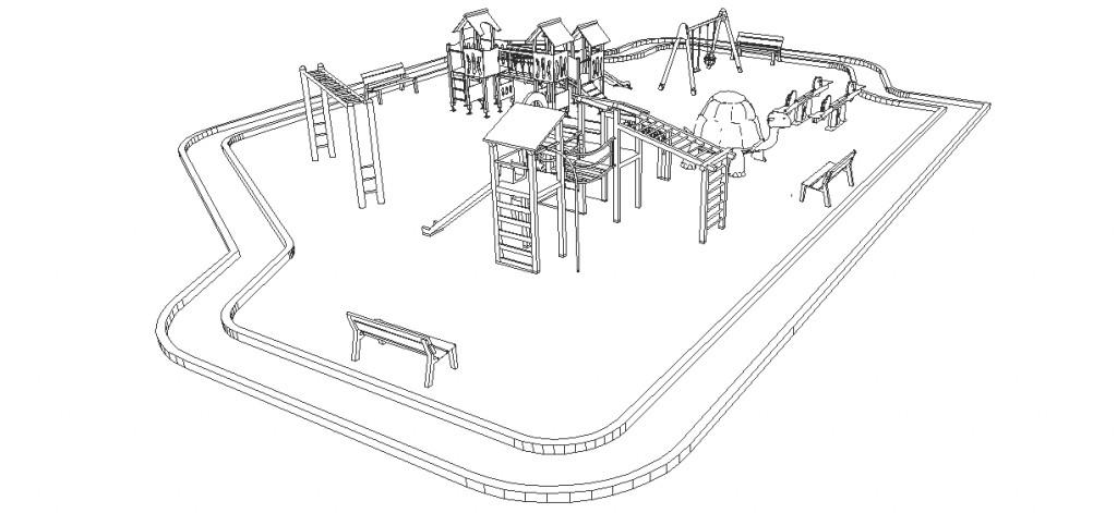 Çocuk parkı perspektif çizimi