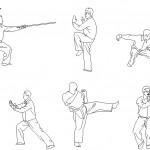 Karate yapan insan çizimleri