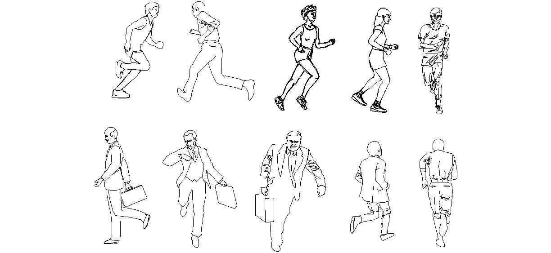 Koşan Insan şablonları Autocad Koşan Adam çizimi Koşan Adam Dwg
