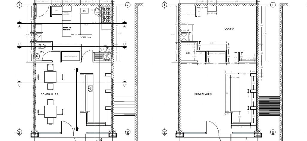 Kafe projesi plan çizimi yakın görünüş