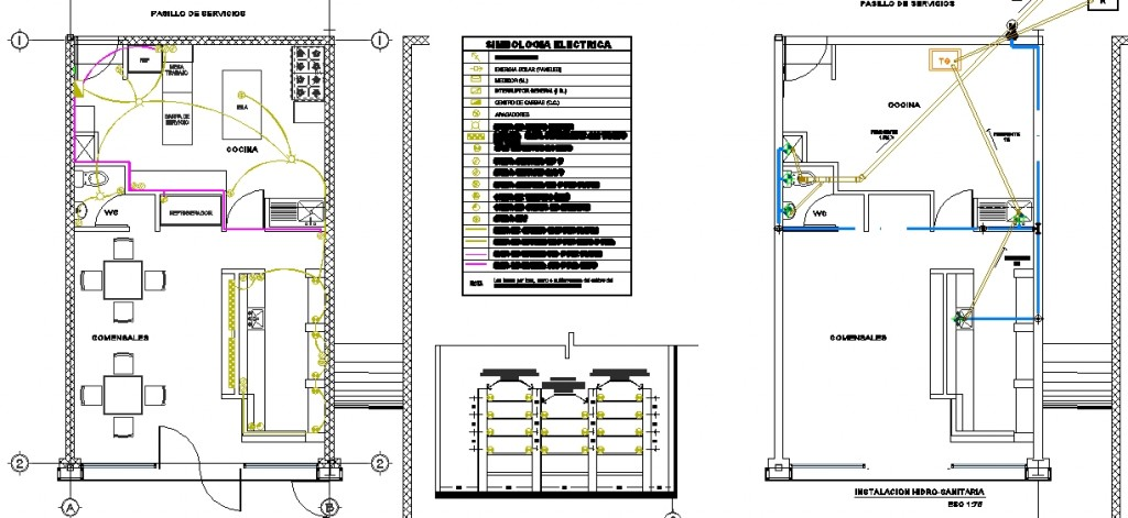 Kafe projesi elektrik ve sıhhi tesisat plan çizimi yakın görünüş