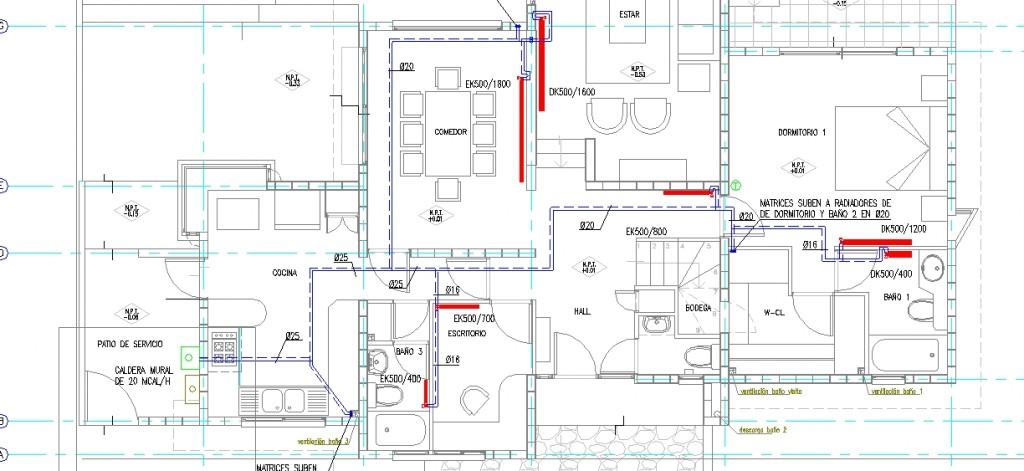 Merkezi ısıtma sistemi projesi daire planı yakın görünüşü