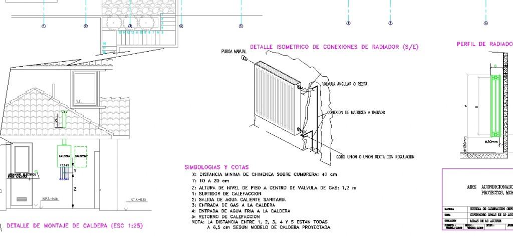 Merkezi ısıtma sistemi projesi detay çizimleri yakın görünüşü