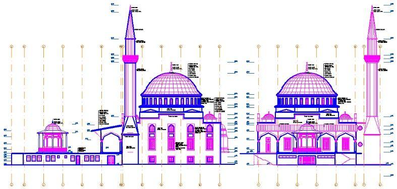 Cami cephe çizimleri yakından görünüş