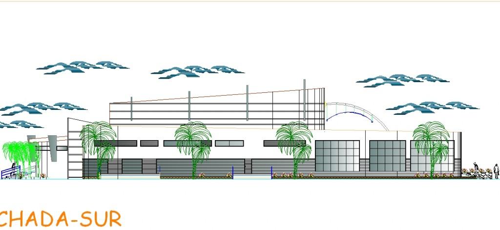 Tiyatro binası cephe çizimi