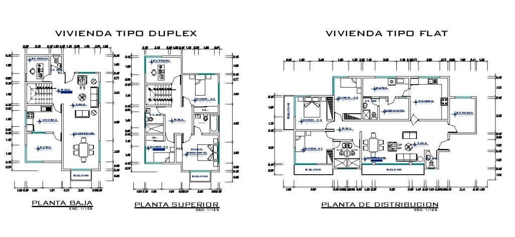 Toplu konut projesi dublex ve tek katlı müstakil ev planları