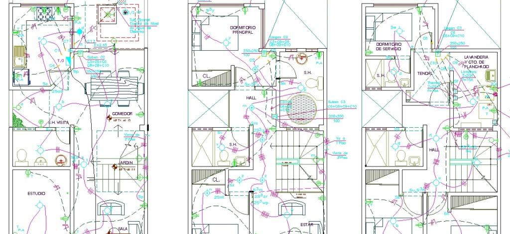tripleks villa elektrik projesi planları yakından görünüş