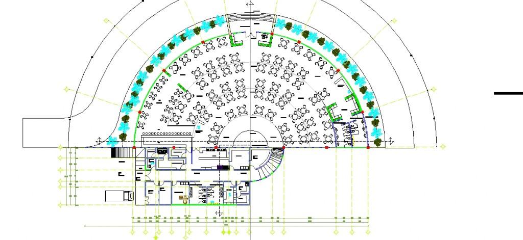 Yarım daire şeklinde restaurant planı