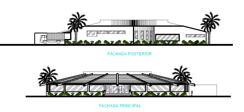 Yarım daire şeklinde restaurant projesi cephe görünüşleri