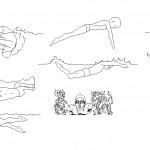 Yüzen insan çizimleri