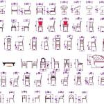 Autocad sandalye tefrişleri