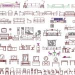 Çeşitli mobilyaların görünüş çizimleri