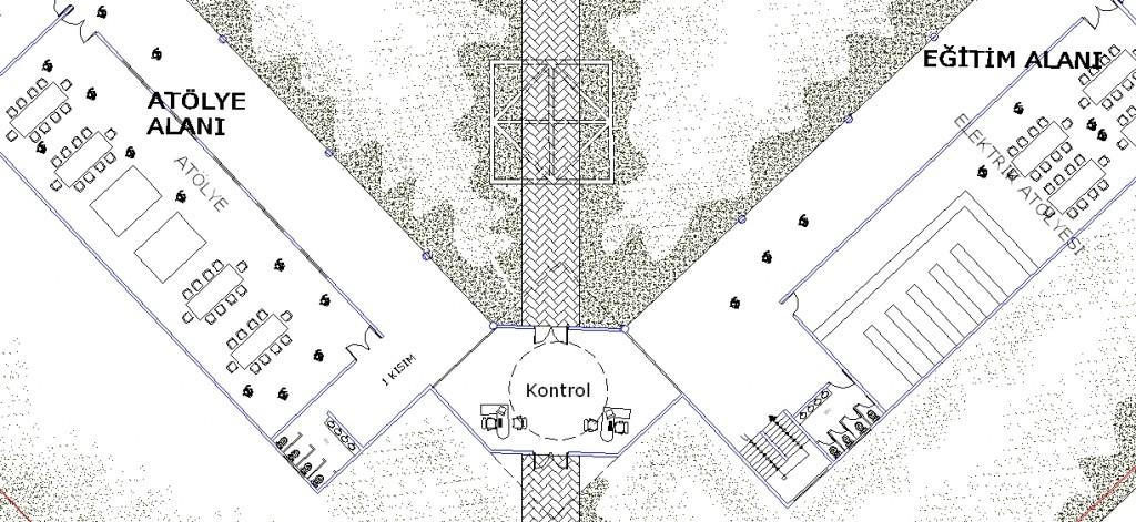 Hapishane projesi planı yakından görünüş 2