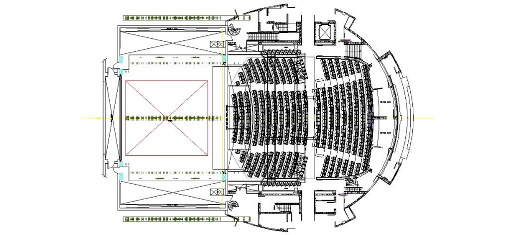 Konser salonu planı yakından görünüş