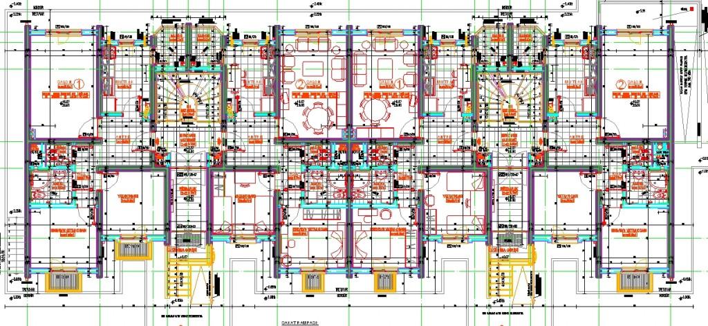 Mimari konut projesi kat planı yakından görünüş
