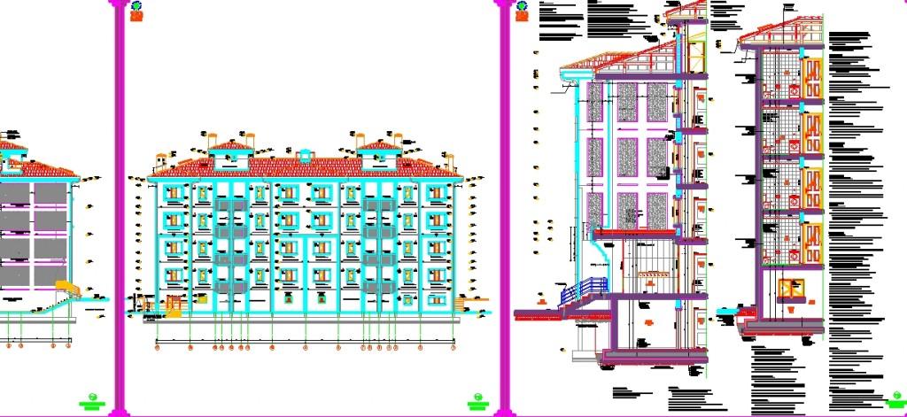 Mimari konut projesi cephe ve cephe sistem detayları yakından görünüş