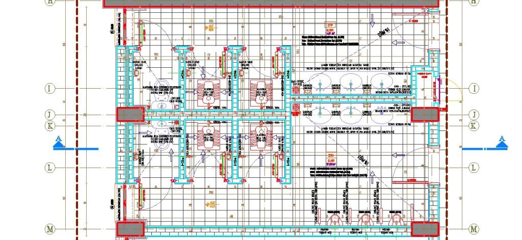 Okul tuvaleti planı yakından görünüş