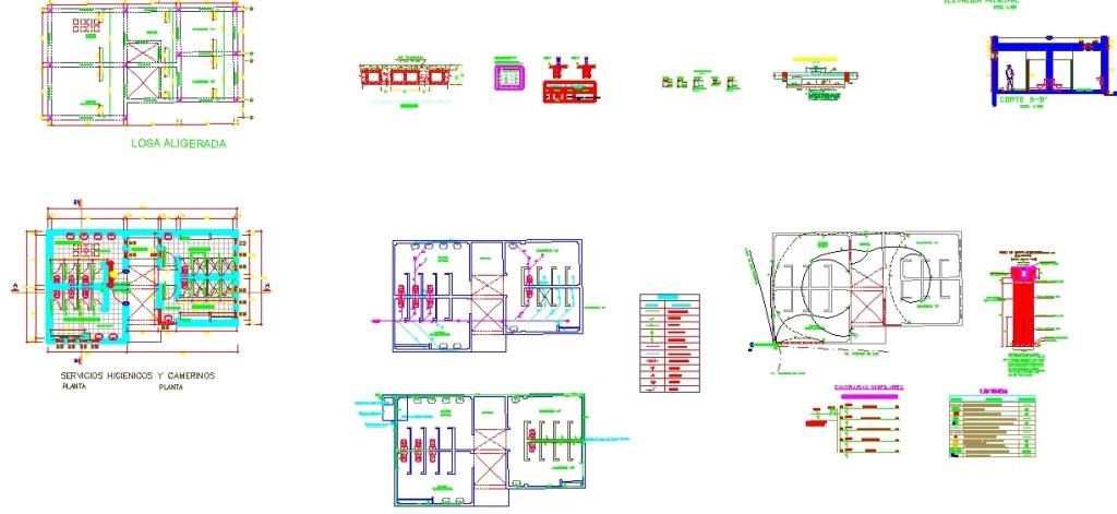 Soyunma,tuvalet,duş birimlerini içeren yapının detaylı çizimleri yakından görünüş