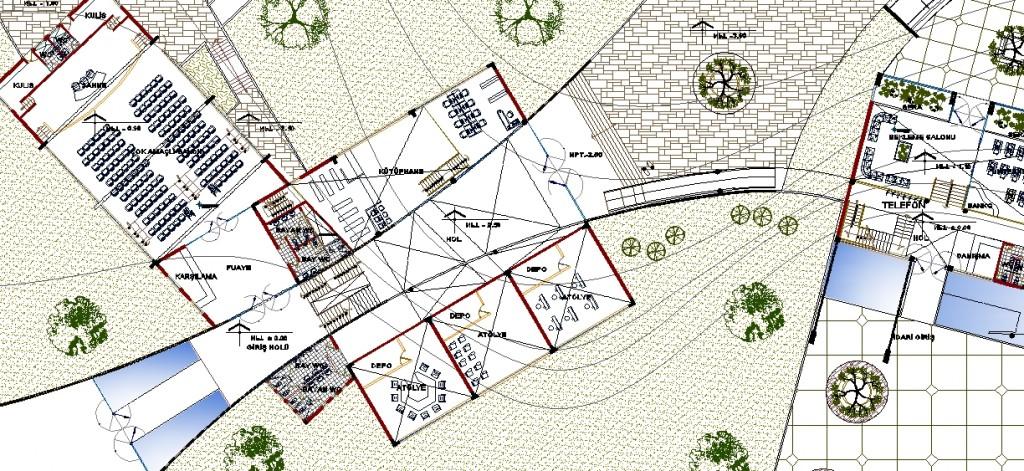 Kültür merkezi planı yakından görünüş