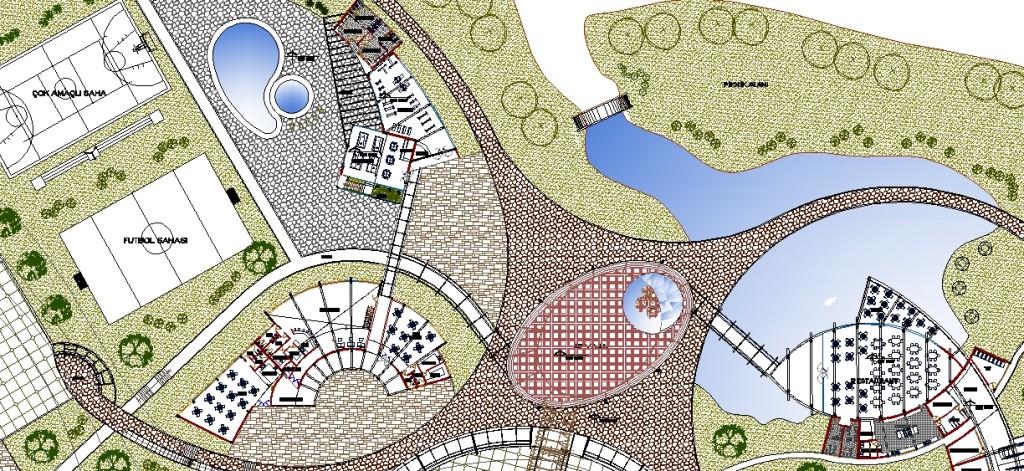 Meydan,spor alanları,snack bar,kafe planı yakından görünüş
