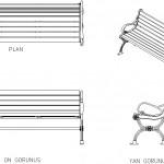 Ahşap oturaklı ferforje bank çizimi