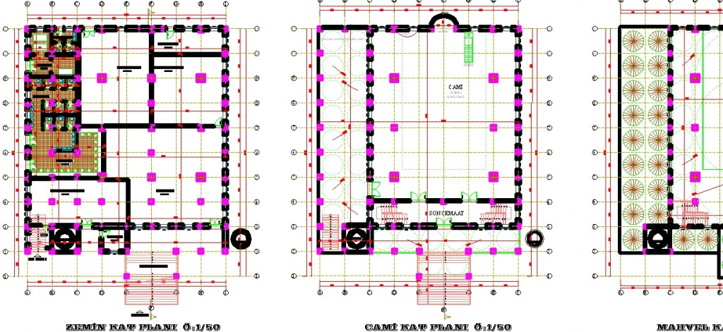 Cami planları yakından görünüş