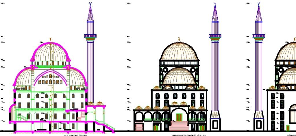 Cami cephe ve kesiti yakından görünüş