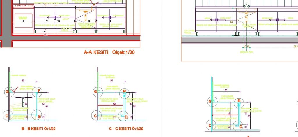 Çelik tezgah detay çizimleri yakından görünüş