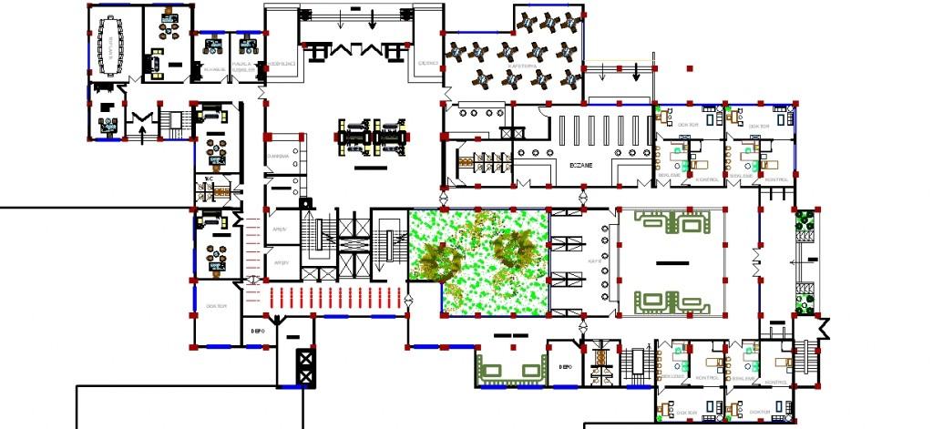 Hastane kat planı yakından görünüş