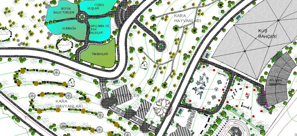 Hayvanat bahçesi planı yakından görünüş
