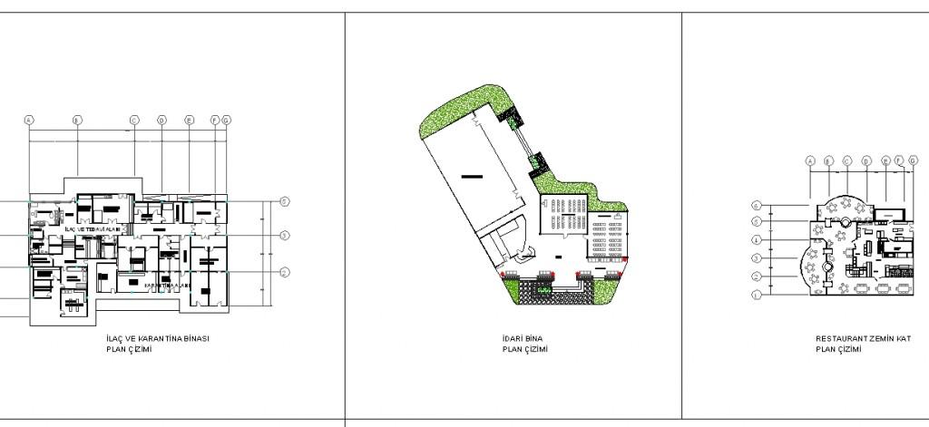 Hayvanat bahçesi bina planları yakından görünüş