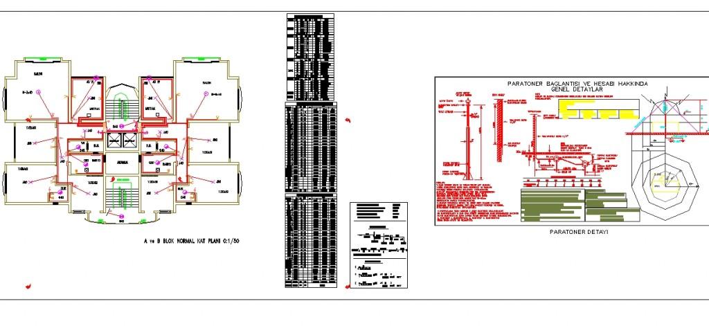 İki bloklu site elektrik projesi plan,yükleme cetveli,detay çizimleri yakından görünüş