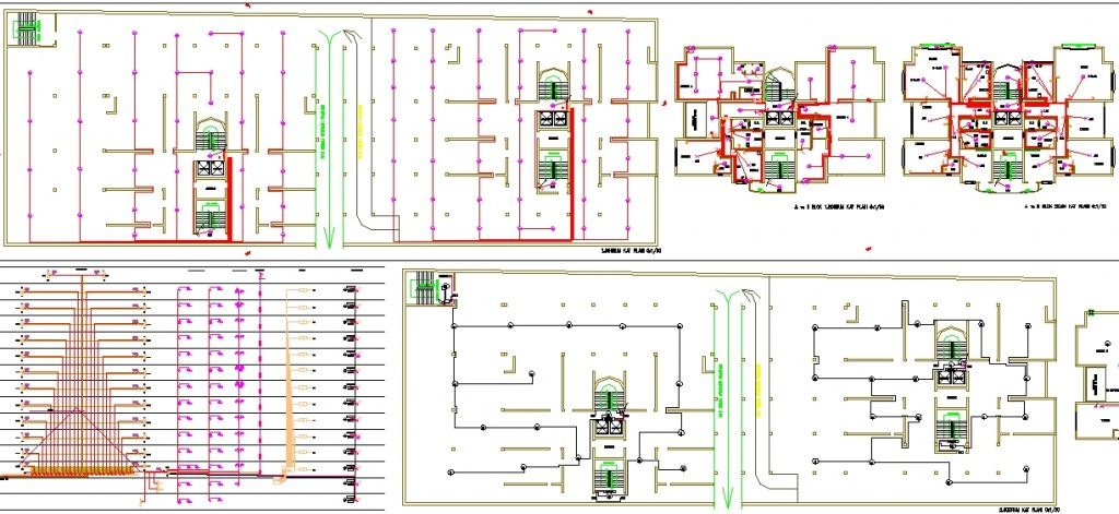 İki bloklu site elektrik projesi kat planları,kuvvetli akım şemaları yakından görünüş
