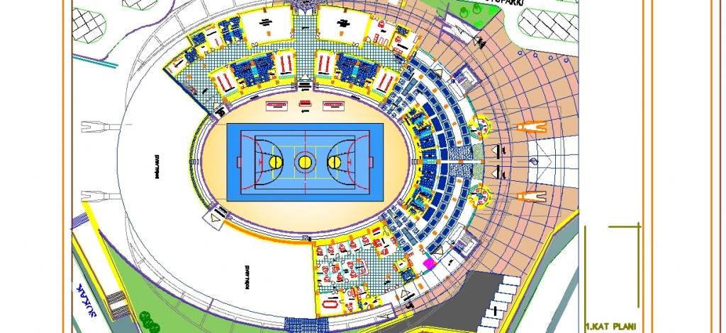 Olimpiyat stadyumu 1.kat planı yakından görünüş