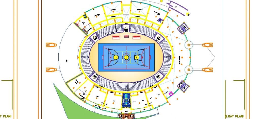 Olimpiyat stadyumu 2.kat planı yakından görünüş