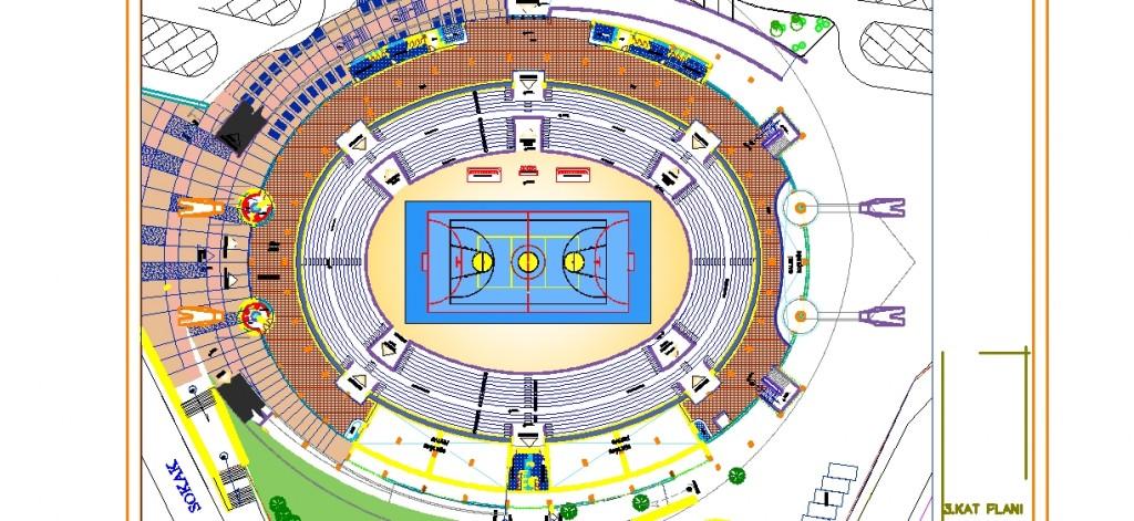 Olimpiyat stadyumu 3.kat planı yakından görünüş