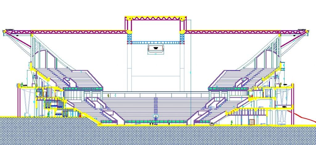 Olimpiyat stadyumu kesit çizimi yakından görünüş