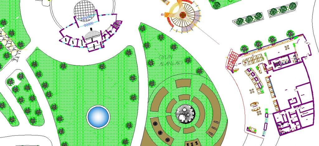 Spor parkı planı yakından görünüş