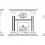 3 adet şömine ön görünüş çizimi