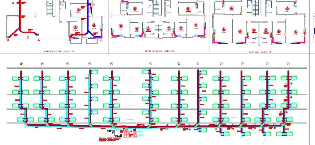 Apartman kalorifer tesisatı projesi kesiti yakından görünüş
