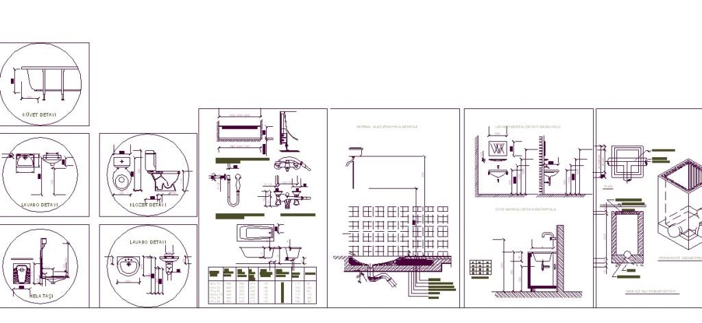 Apartman sıhhi tesisat projesi detay çizimleri yakından görünüş
