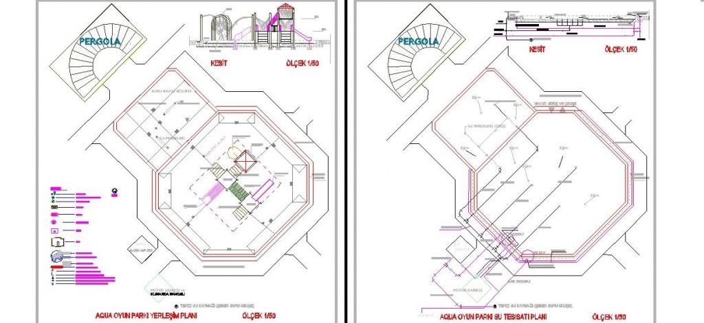 Aqua oyun parkı projesi planları yakından görünüş