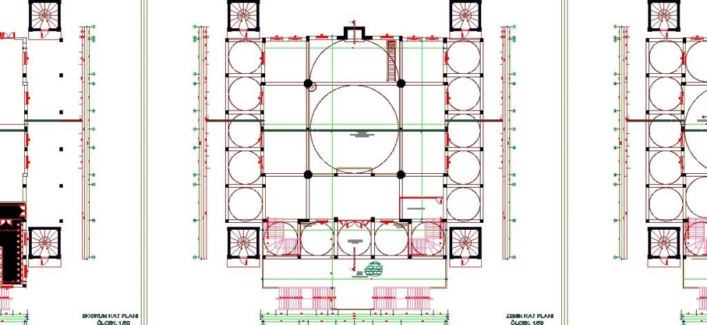 Cami planı yakından görünüş