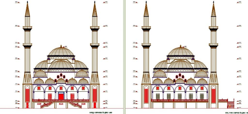 Cami cephe çizimi yakından görünüş