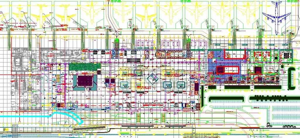 Havaalanı plan çizimi yakından görünüş 1