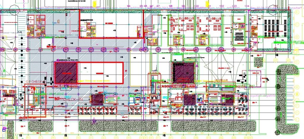 Havaalanı plan çizimi yakından görünüş 2